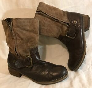Clarks Brown Mid Calf Leather Lovely Boots Size 6.5D (806v)