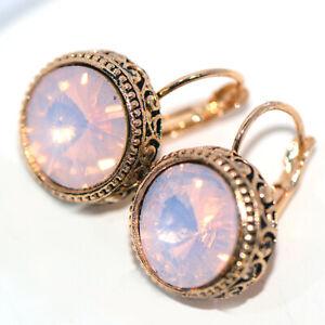 Vintage Big Pink Crystal 15mm Womens Hoop Earrings Dangle Earings Gold Jewelry