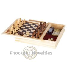 6-In 1 Game Set Chess Checkers Backgammon Poker Dice Dominoes and Playing Cards