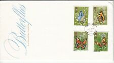 LETTRE FDC ROYAUME UNI SERIE TIMBRE 992 A 995 FAUNE PAPILLONS 1981