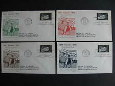 Canada newspaper Sc 375 singles on 4 different coloured H&E cachet FDC