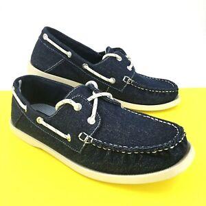 Marks & Spencer Mens Boat Shoes UK 7 Blue Denim Lace Up Deck Summer Footwear