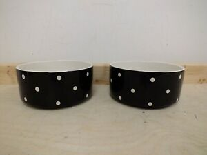 Mason Cash Black & White Polka Dot Cat Food / Water Bowls -18cms  (Hol)