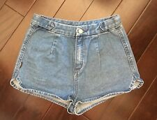 "INSIGHT Denim BLUE Jean DIPPER SHORTS Embroidery Pocket 25"" urban outfitters"