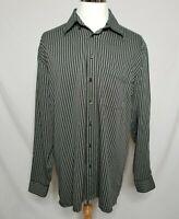 Bugatchi Uomo Mens 2XL Striped Button Down Dress Shirt Long Sleeve XXL Pocket