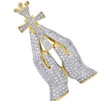 Yellow Gold Silver Simu Diamond Praying Hands Holding Cross Crown Pendant Charm