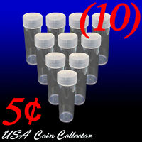 (10) Nickel Size Crystal Clear Round Coin Tubes by Whitman Twist Off Cap 5 Cent