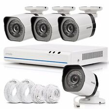 Zmodo 4CH 1080p Simplified PoE NVR IP 720p Outdoor Security Camera System No HDD