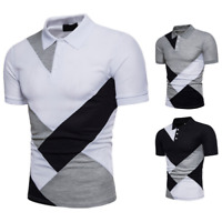 Men Slim Fit Polo Work Shirt Short Sleeve Summer Casual T-shirt Tee Top Business
