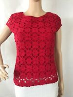 Studio M Womens Blouse Size S Red Crochet Look Cap Sleeve