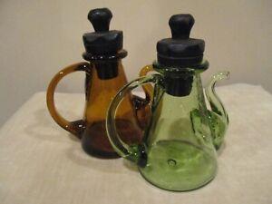 Vintage Amber/Green Teapot Style Oil and Vinegar Glass Cruets (2pcs)