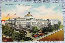 Old January 1952 Washington DC Library Congress w Annex Linen Postcard FREE S/H