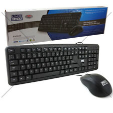 Dynamode USB Combo Office PC Keyboard Full Size and Mouse Bundle Set UK layout
