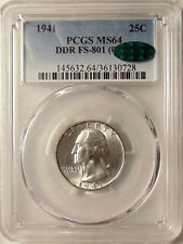 1941 Washington Quarter - FS-801 DDR -  PCGS MS64 CAC - Beautiful Choice BU Coin