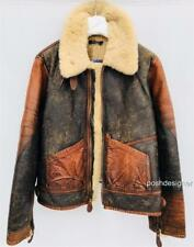 Polo Ralph Lauren Brown Shearling Aviator jacket coat M-L RRP2200GBP nouveau