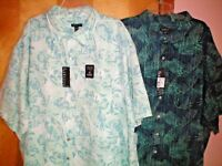 NWT NEW mens white blue green aqua VAN HEUSEN s/s casual shirt microfiber $60