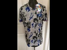 PRICE REDUCTION NEW DESIGUAL GREY COTTON ANIMAL PARTY PRINT T-SHIRT V NECK SMALL