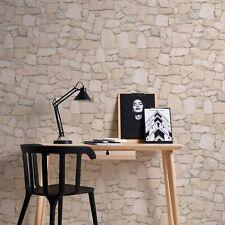 Tapete Steinoptik 3D Optik Papiertapete, Tapeten 3D Wohnzimmer Beige Braun Stein