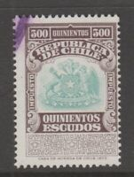 Chile fiscal Revenue stamp 8-9-20- better denomination 500 peso