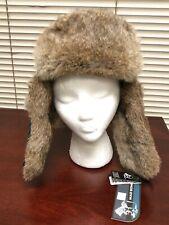 Mad Bomber Green/Black Plaid Wool With Brown Rabbit Fur Medium