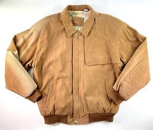 VTG 90s Marlboro Adventure Team Brown Satin Lined Leather Jacket - Mens Large