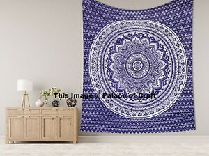 Indian Ombre Wall Hanging Tapestry Mandala Bedspread King Size Bed Cover Throw