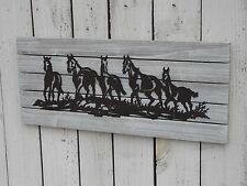 Primitive western wood and metal RUNNING HORSES sign country home wall decor