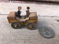 Antique c.1930's Tin Roller Coaster Car w 2 Riders Penny Toy