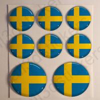 Pegatinas Suecia Pegatina Bandera Suecia Redondas 3D Vinilo Adhesivo Relieve