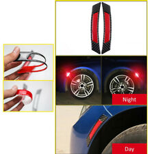 4x Red Reflective Safety Tape Warning Car Door Sticker Accessory Carbon Fiber