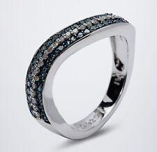 Ö.6936 Designer Ring 925er Silber rhod. Diamant blau/weiß 0,37ct RW18