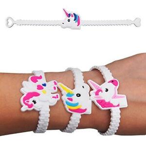 10x Cartoon Unicorn Bracelet White Band Party Bag Fillers Christmas Gift For Kid
