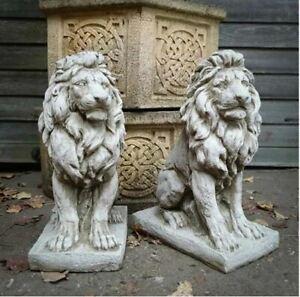 Pair of Lion Statues | Reconstituted Stone Animal Concrete Garden Ornament Decor