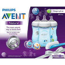 Philips AVENT Natural 9oz Baby Bottle Feeding Gift Set - Blue Monkeys