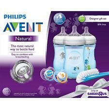Philips AVENT Natural 9oz Baby Bottle Feeding Gift Set - Blue Monkeys