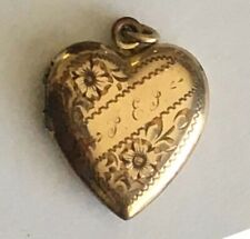 Beautiful Antique Gold Filled 2 Photo Engraved Heart Locket Pendant 1/20 12KGF