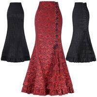 Victorian Gothic Steampunk Long Mermaid Corset Dress Fishtail Vintage Skirt 6 18