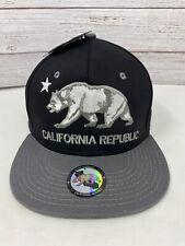 Black California Republic Cali Bear Hip Hop Flat Bill Snapback Baseball Cap Hat