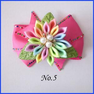 "10 BLESSING Girl 4.5"" Shine Wendy Hair Bow Clip Rhinestone Rainbow Flower LOL"