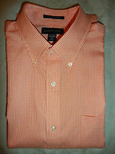 New!LANDS' END Tailored Fit Shirt Long Sleeve Pink-White Gingham Check 15-1/2 34