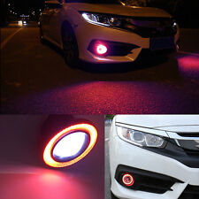 """2x 3.5"""" Car Fog Light Lamp COB LED Projector Red Halo Angel Eyes Rings DRL"""