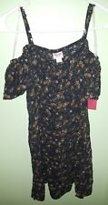 Mossimo - Woman's Ruffle Sleeve Strap Button Up Shirt (Ebony Floral, S)
