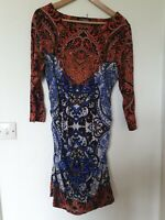 Phase Eight Wiggle Rounched Retro Paisley Abstract Print Dress Size 16