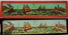 Ancienne plaque verre magic lanterne magique fin XIX° en mer navires & voiliers