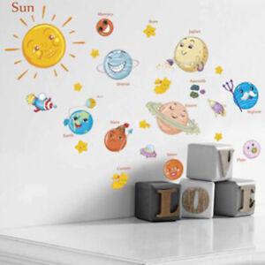 Creative Sticker Solar System Cartoon Childrens Room Living Room Wall KY