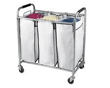 Saganizer Hamper with Wheels Rolling Cart Triple Laundry Organizer Chrome/White