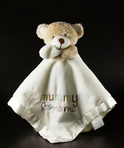 cuddling teddy bear baby blanket white soft security lovie satin Mummy Loves Me