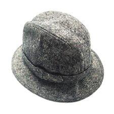 Vtg STETSON USA Tweed Wool Bucket Black Large 7 1/4 -7 3/8 Hat Crushable Gray