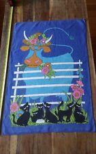 Vtg retro linen tea towel Chris Bash blue cow black kittens milk flowers CUTE