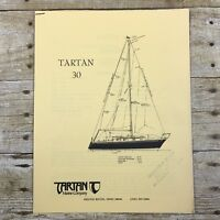 Vintage Sailboat Dealer Sales Brochure Tartan Marine Company 30 Price List Boat